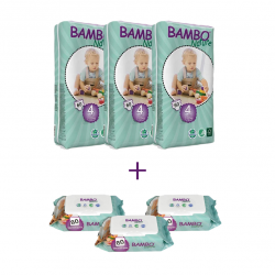 3x Bambo Nature Size 4 (7-18Kg), 60 Count + 3x Bambo Nature Wet Wipes 80 count