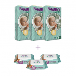 3x Bambo Nature Baby Diapers tall, Size 3 (5-9Kg), 66 Count, + 3x Bambo Nature Wet Wipes 80 count