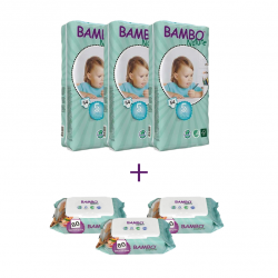 3x Bambo Nature Baby Diapers Classic, Size 5 (12-22Kg), 54 Count, + 3x Bambo Nature Wet Wipes 80 count
