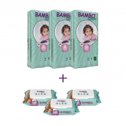 3x Bambo Nature Baby Diapers Classic, Size 6 (16-30Kg), 44 Count + 3x Bambo Nature Wet Wipes 80 count