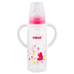 Farlin Standard Neck Feeder with Handle, 240ml, Pink