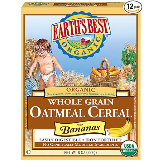 Earth's Best Organic Infant Cereal, Whole Grain Oatmeal with Bananas, 8 oz