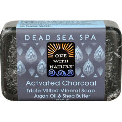 One With Nature Dead Sea Spa Mineral Soap Activated Charcoal 200 G