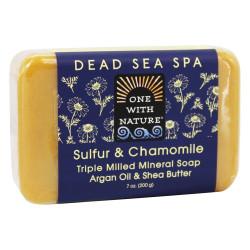 One With Nature Dead Sea Spa Mineral Soap Sulfur & Chamomile