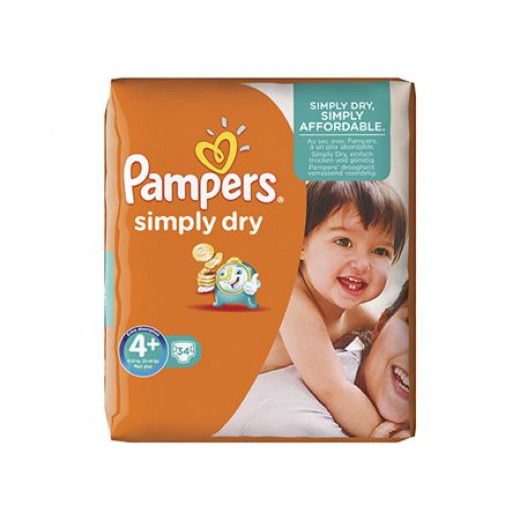 Pampers Simply Dry Nappies Size 4+ (9-20)kg , 34pcs