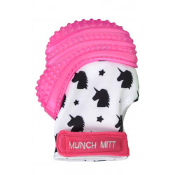 Munch Mitt Teething Mitten, Pink Unicorn