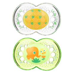 MAM Baby Pacifier 6+ Months, 2-Pack (Green & White)
