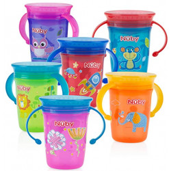 Nuby 1Pack No Spill 2-Handle 360 Degree Printed Wonder Cup - Colors May Vary