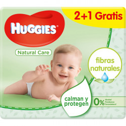 HUGGIES Natural Care baby wipes with aloe vera & vitamin E pack 2x56 pack + 1 free container 168 units