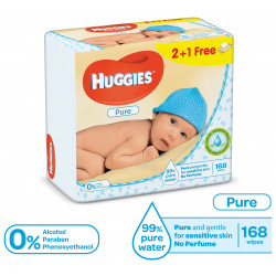 Huggies Baby Wipes Pure 168 Wipes (2+1 Free)
