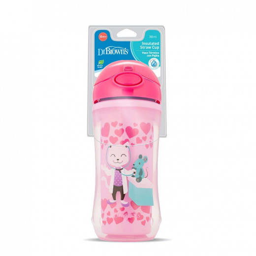 Dr. Brown's Insulated Straw Cup - Pink (12m+), 300ml