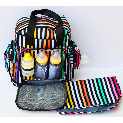 GenioWorld Baby Bag, Diaper Maternity Back Bag - Stripe Colors