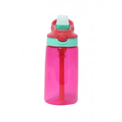 GenioWorld 14 oz Auto Spout Straw Flip Kids Tritan Water Bottle, Pink