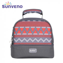 Sunveno Insulated Bottle and Lunch Bag, Grey and Orange Waves