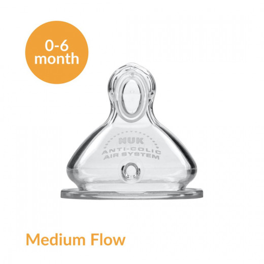 NUK Medium Flow Replacement Nipples, Stage 1, Silicone, Pack of 1