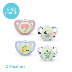 NUK Night & Day Stage 2 (6-18 months) Silicone Soother X2 Pacifiers