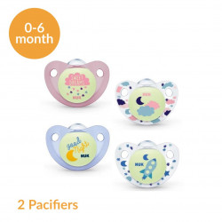 NUK Night & Day Stage 1 (0-6 months) Silicone Soother X2 Pacifiers