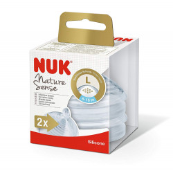NUK Nature Sense Silicone Large Feed Hole Teats X2 Nipples, (6-18 Months)