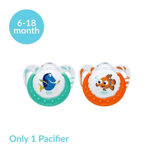 NUK Disney Soother Silicone Stage 2 (6-18 months), X1 Pacifier, Assorted Colors