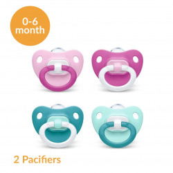 NUK Fashion Pacifier Silicone Stage 1 (0-6 months), 2 Different Colors, X2 Pacifiers