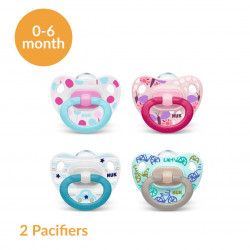 NUK Happy Days Silicone Soother, X2 Pacifiers, (0-6 Months)