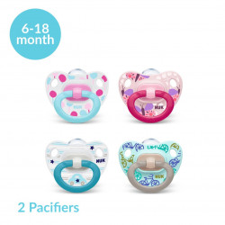 NUK Happy Days Silicone Soother (6-18 Months), X2 Pacifiers