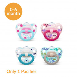 NUK Happy Days Silicone Classic Pacifier, (0-6 month), X1 Pacifier