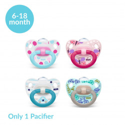NUK Happy Days Silicone Classic Pacifier, (6-18 month), X1 Pacifier