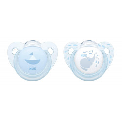 NUK Baby Blue Silicone Trendline Pacifier, (0-6 month), X1 Pacifier, Assorted Models