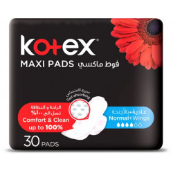 Kotex Designer Maxi Pads Normal with Wings, 30 Pads