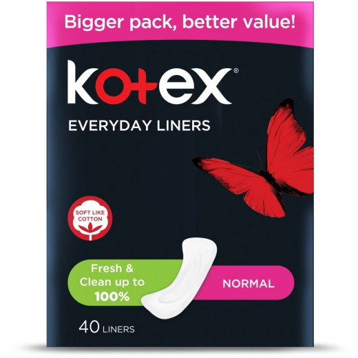 Kotex Feminine Liners Normal Unscented, 40 Pads