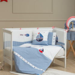 Funna Baby Bed Set 8pcs Marine - 70x140 - Blue