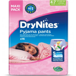 DryNites Diapers , 4-7Y , Jumbo Girl - 17-30kg ,16 PCS ( Fairis )