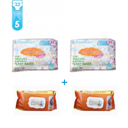 Package 5: Pure Born - Organic Nappy Size 5 x2 + FREE Penguin Baby Wet Wipes 120 pcs x2