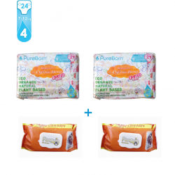 Package 4: Pure Born - Organic Nappy Size 4 x2 + Free Penguin Baby Wet Wipes 120 pcs x2