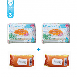 Package 3: Pure Born - Organic Nappy Size 3 x2 +  FREE Penguin Baby Wet Wipes 120 pcs x2
