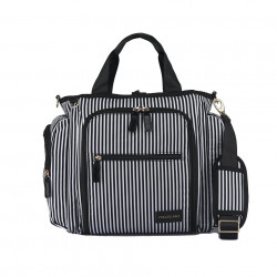 Colorland Gabrielle Tote Baby Changing Bag, Black & White Strips