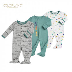 Colorland - Baby Romper / The Car Show 3 Pieces In One Pack