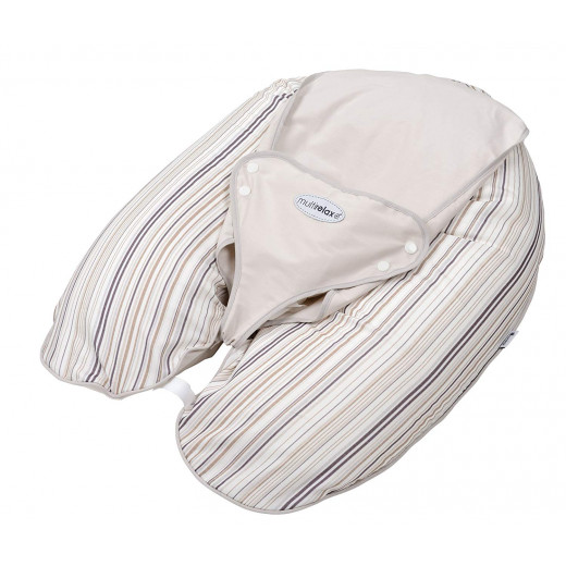 Candide Multirelax 3-in-1 Maternity Pillow and Infant Seat, Jersey, Stripes Brown