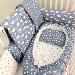 Anett Newborn Baby Bedding Set, Clouds, Blue
