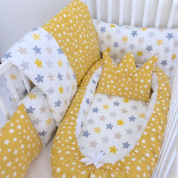 Anett Newborn Baby Bedding Set, Colorful Stars, Yellow