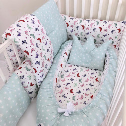 Anett Newborn Baby Bedding Set, Colorful Butterflies, Pale Green