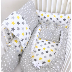 Anett Newborn Baby Bedding Set, Colorful Stars, Grey