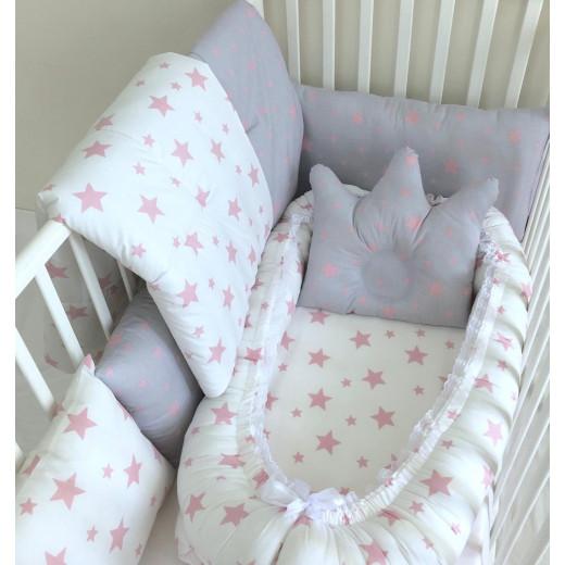 Anett Newborn Baby Bedding Set, Pink Stars, White & Grey