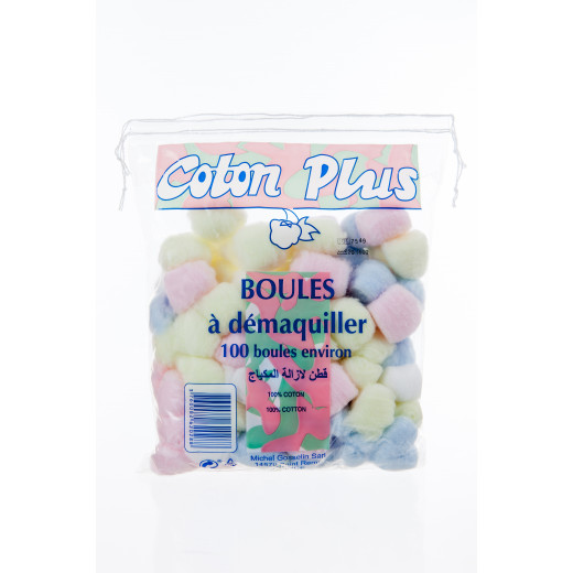 Coton Plus 100 Makeup Remover Colored Cotton Balls