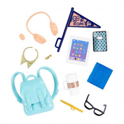 Barbie School Spirit and Tech Accessories, Tablet, Backpack, Coffee, Eyeglasses