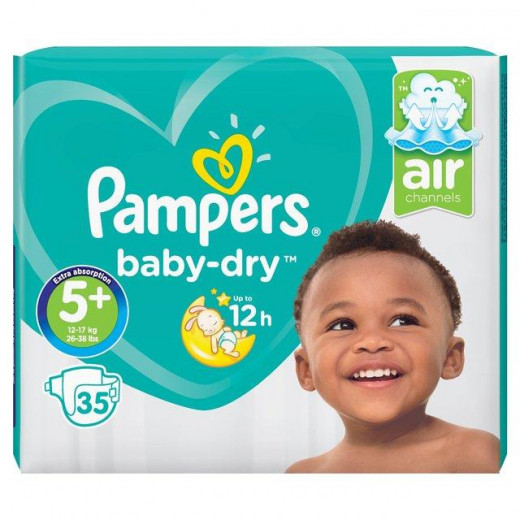 Pampers Active Baby Jumbo Pack, Size 5+ 35 Diapers 12-17 Kg. (Made in Britain).