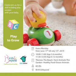 Play to grow - Mom And Baby Play groups sessions - June - July 2019
