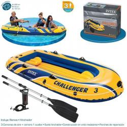Intex - Challenger TM 3 Boat 3 Sets with 48 Aluminum Oars, 68614) 233 cm x 113 cm x 40 cm