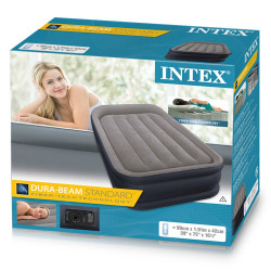 Twin Deluxe Pillow Rest Raised Airbed With Fiber-Tech Bip (w/220-240V Bulit-in Pump)